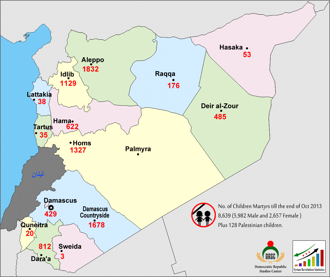Map No.1: Number of the Martyrs Children in the Syrian Governorates till the End of October 2013