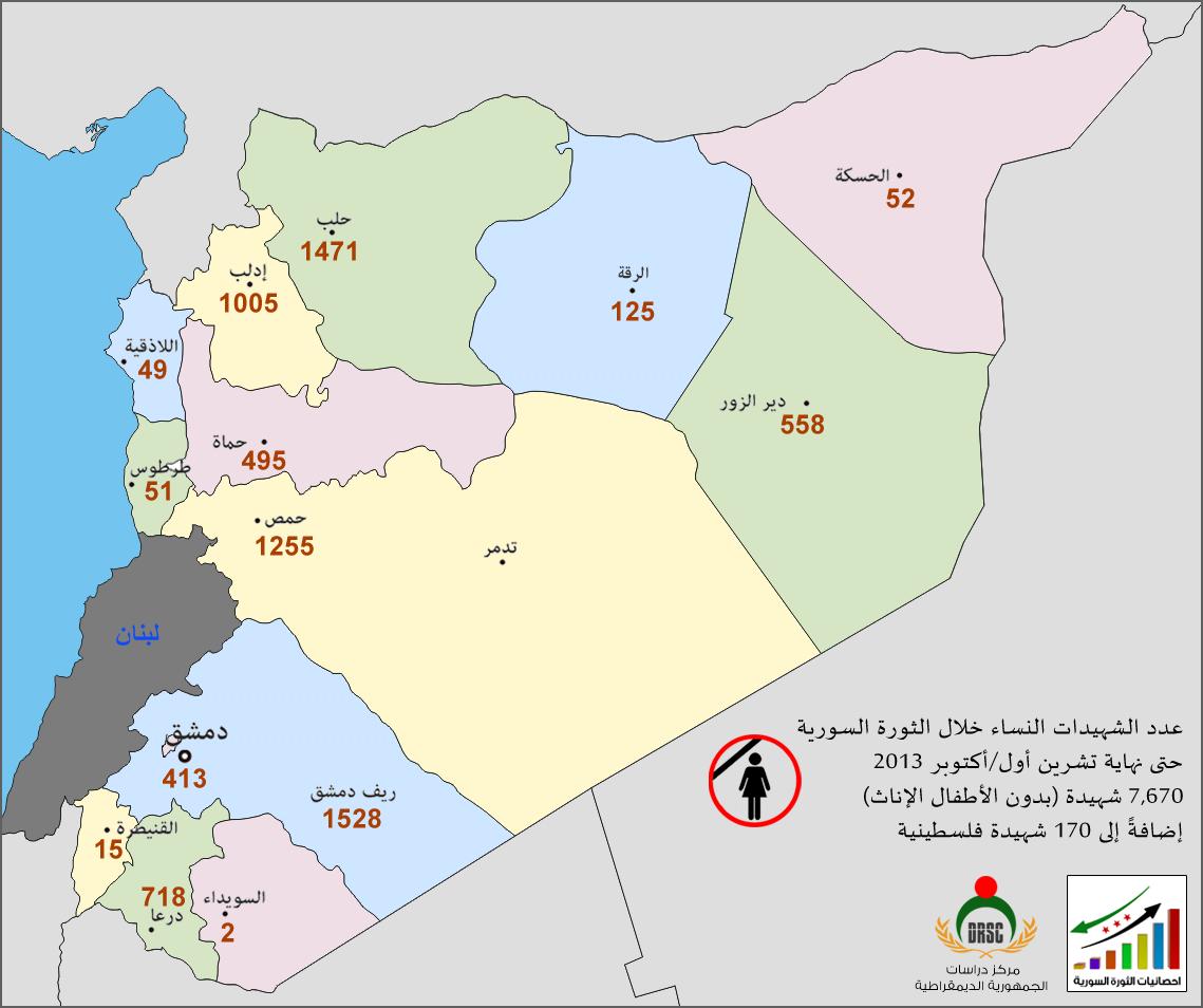 خارطة رقم 2: عدد الشهيدات النساء خلال الثورة السورية بحسب المحافظات حتى نهاية تشرين أول/أكتوبر 2013
